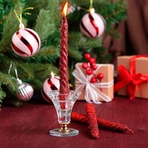 Набор свечей витых 1,5*15см 3 шт красный
