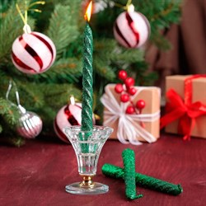 Набор свечей витых 1,5*15см 3 шт зеленый