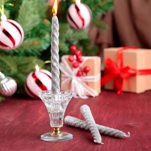 Набор свечей витых 1,5*15см 3 шт серебристый