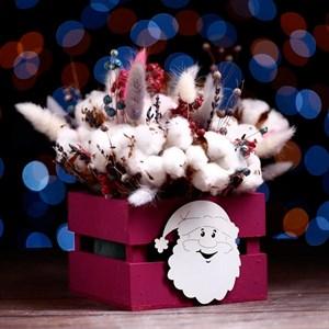 Ящик подарочный реечный Дед Мороз 13*13*9 см бордо
