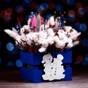Ящик подарочный реечный Мишка 13*13*9 см синий