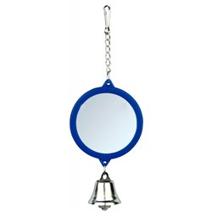 Игрушка д/птиц Зеркало жердочка с колокольчиком круглое пластмассовое