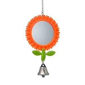 Игрушка для птиц Зеркало цветок с колокольчиком пластмас.