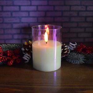 Свеча светодиодная в стакане 7,5*7,5*10 см перламутровый