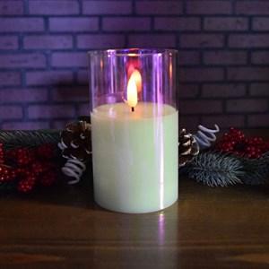 Свеча светодиодная в стакане 7,5*7,5*12,5 см перламутровый