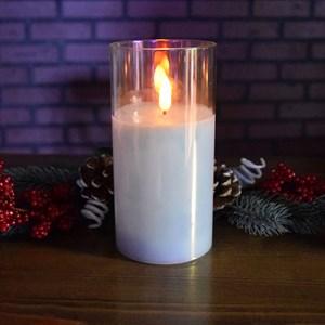Свеча светодиодная в стакане 7,5*7,5*15 см перламутровый