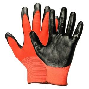 Перчатки нейлоновые с нитрил.покрыт. красно-черные