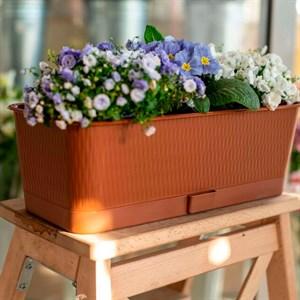 Ящик балконный Прованс 6л коричневый с поддоном