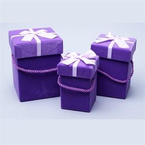 Набор коробок куб 13*13*16,5см 3шт фиолетовый бархат