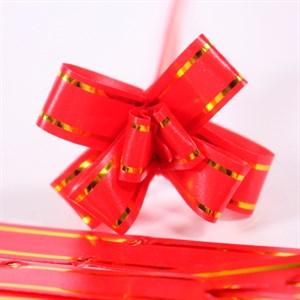 Бант-бабочка 50мм золотая полоса красный