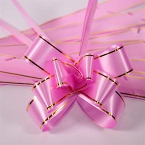 Бант-бабочка 2,8*45см золотая полоса розовый