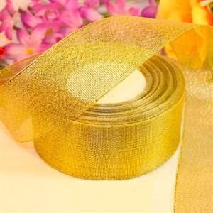 Лента парча 40мм*25 ярд золото