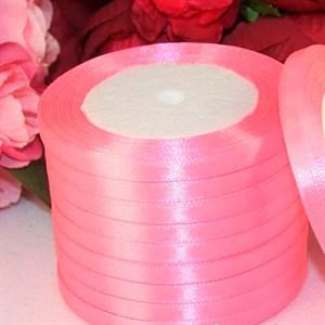 Лента атлас 10мм х 25 ярд розовая