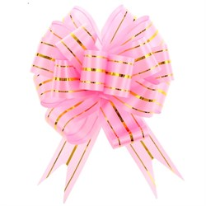Бант Шар 18мм золотая полоса розовый