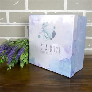 Набор коробок квадрат Boy 21*21*10,5см 3шт голубой