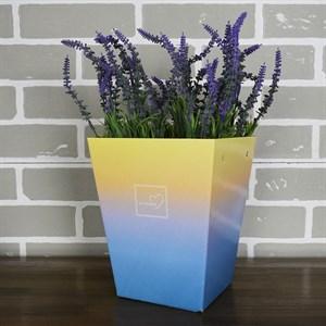 Плайм пакет для цветов 220*175/125 Градиент желтый/голубой
