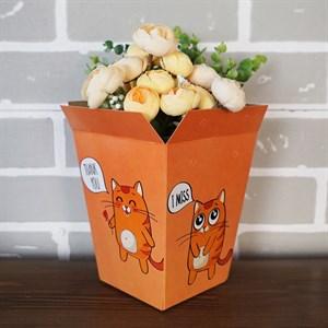 Плайм пакет для цветов 150*120/90 Котята на бежевом