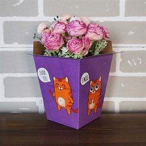 Плайм пакет для цветов 150*120/90 Котята на фиолетовом