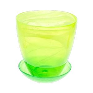 Горшок № 2 крашеный алебастр желто-зеленый d13
