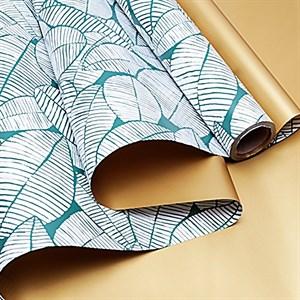 Пленка матовая 60*10 листья изящные золото/зеленая