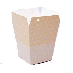 Плайм пакет для цветов 150*120/90 Горошки белые на кремовом
