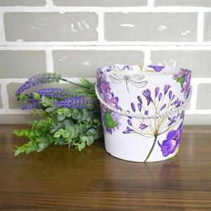 Коробка для цветов Конус 15*13см цветы на белом