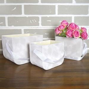 Коробка-сумка набор из 3шт 17*12,5*13см бархат бежевый