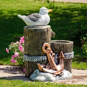 Фонтан для сада с чайкой и якорем U08942