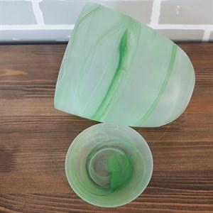 Горшок № 4 алебастр зеленый матовый d15.5