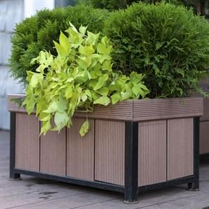 Кадка для растений низкая террасная доска и металл 69-012