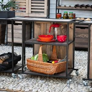 Стол с полками для летней кухни на колёсиках 59-259