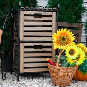Деревянный ящик для хранения высокий с металлом 895-13