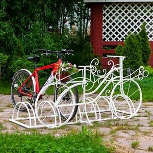 Парковка для велосипедов металлическая с подставкой под цветы 71-211