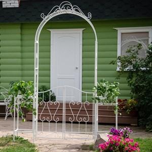 Арка садовая белая с двумя дверцами и подставками для цветов 863-54R