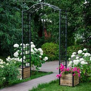Арка садовая черная с кадками для цветов 863-51R