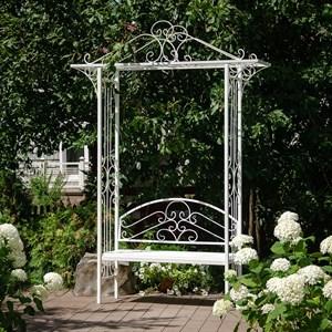 Арка садовая белая со скамейкой 863-50R