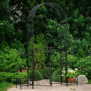 Арка садовая черная с дверцами и четырьмя подставками для цветов 863-52R