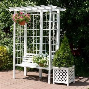 Беседка садовая белая металл и дерево 69-104-W