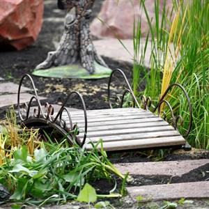 Мост садовый металл с деревом с коваными ажурными перилами 862-17R
