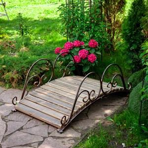 Мост кованый садовый с деревом чёрно-золотой 862-18R