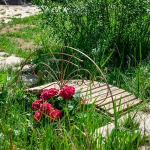 Мост металлический садовый с декоративнымы перилами 862-03R