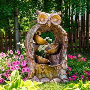 Фонтан садовый Сова с тремя чашами US08918