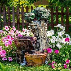 Фонтан для сада Дерево с корзинкой U08941