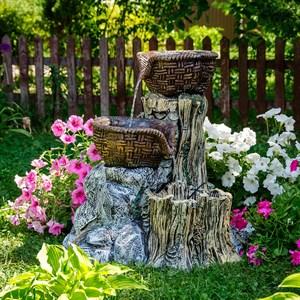Фонтан садовый с двумя корзинами на камне U08969