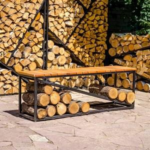 Скамейка с дровницей металл для дачи и дома Лофт 66-911