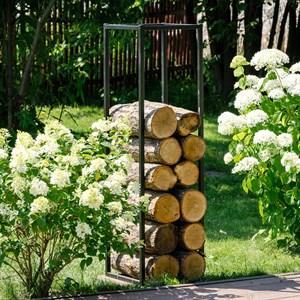 Дровница Лофт металлическая с деревом узкая высокая 66-905