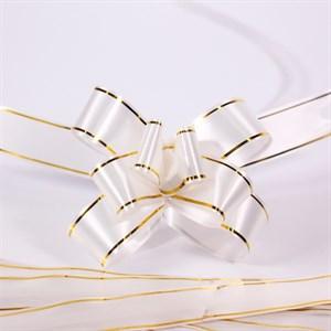 Бант Шар 18мм золотая полоса белый