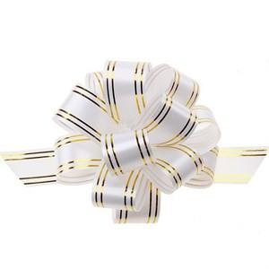 Бант шар 50мм золотая полоса белый