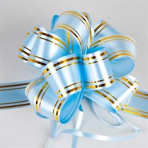 Бант шар 50мм золотая полоса голубой