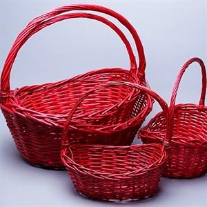Набор корзин плет ива 48*37*42см 4шт красный